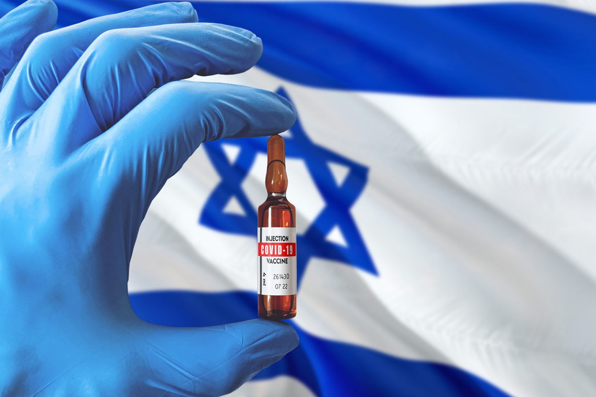 Israel flag with Coronavirus Covid-19 concept. Doctor with blue protection medical gloves holding a vaccine bottle. Epidemic Virus, Cov-19, Corona virus outbreaking.