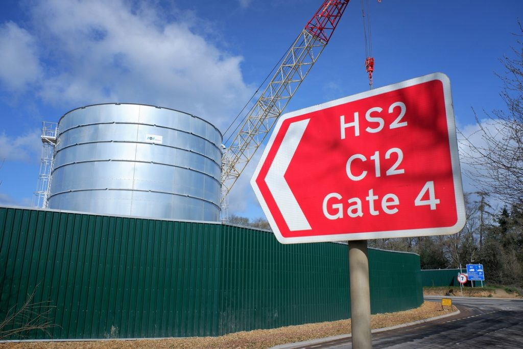 Sign pointing to High Speed 2 (HS2) ventilation shaft construction site in the Chiltern Hills