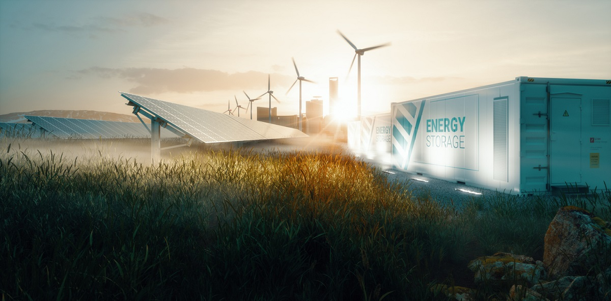 Smart grid renewable energy system solution for future smart cities at sunset. 3d rendering