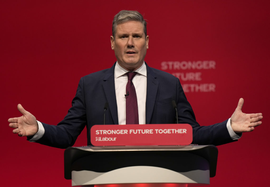 Leader of the British Labour Party Keir Starmer gestures as he makes his keynote speech at the annual party conference in Brighton, England, Wednesday, Sept. 29, 2021. (AP Photo/Alastair Grant)